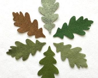 12 green/brown oak leaves. Felt flower garland, green felt oak leaves, hand made, felt die cuts, die cut leaves, felt leaf, DIY garland