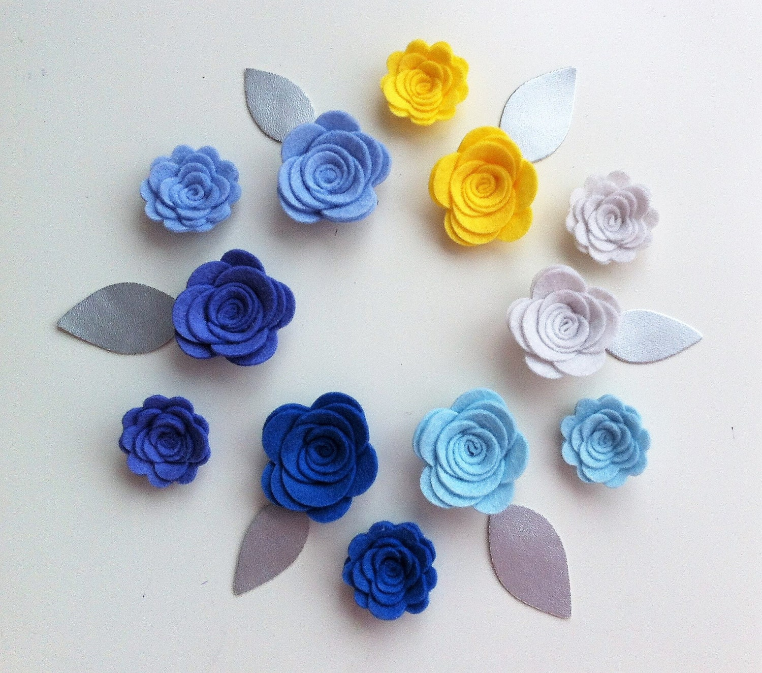 12 hand made blue felt 3d flowers roses silver leaves for How are blue roses made