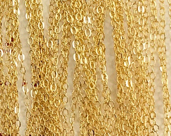 3 Ft - Gold Filled Chain Flat Cable 1.5mm, Gold Filled Chain By Feet -Gold Filled Chains -  GC300-3