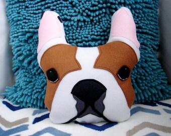 BOOMER White red French Bulldog stuffed plush pet portrait Frenchie throw pillow / 4PawsFashion