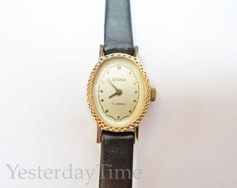 Sekonda Ladies Watch 1970's Russian 17 Jewel Manual Movement Gold Plated Case