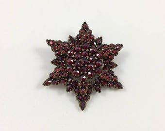 Victorian Bohemian Garnet Star Pin Circa 1880-1890