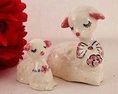 Two White Sheep Figurines Ewe and Lamb Mother and Baby Vintage Hand Painted Porcelain Spring Easter Collectible