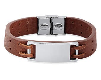 Personalized Quality Brown Leather ID Bracelet - Free Engraving