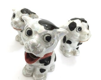 Made in Japan Spotted Dogs, Salt Pepper and Sugar, Lusterware Glaze, Mid-Century 1950s Kitchen Kitsch, Marked Made in Japan