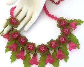 Pink and Green Floral Lucite Necklace, Acrylic Flowers and Leaves, Vintage Statement Piece
