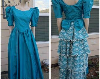 Beautiful Vintage 80s teal dress handmade,80s gown