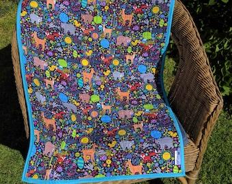 Handmade bassinet, stroller, pram, tummy time, daycare, change mat quilt -bright woodland animals