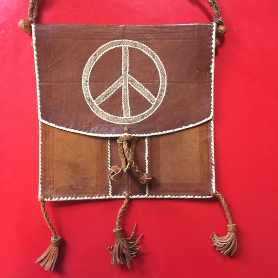 1970s bag leather purse peace sign shoulder cross body purse real snakeskin festival purse 70s hippy