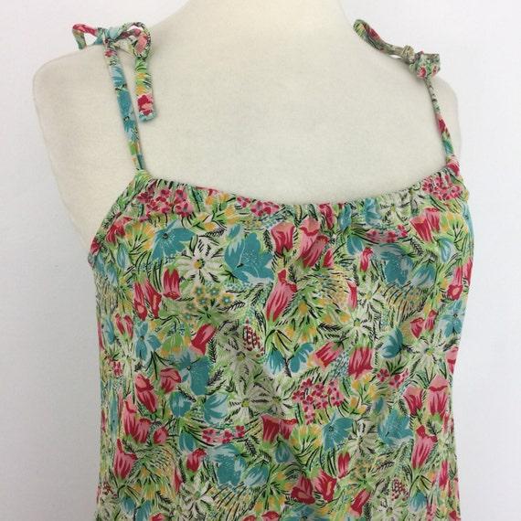 vintage dress cotton floral print beach cover up 1970s Mod St Michael flower power bright sundress trapeze dress shoulder tie UK 10 12 1960