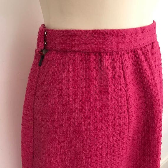 1960s maxi skirt fuscia pink boucle wool long glamour jackie O festival straight skirt UK 10 woven 60s
