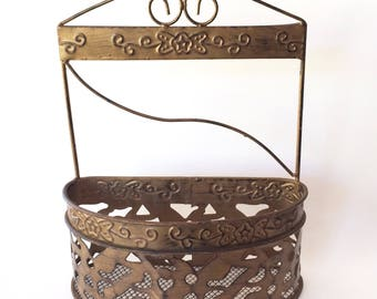 Bronze tone metal wire basket, wall basket, metal storage basket, ornate storage basket