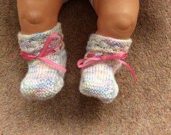Cardigan, mittens, bootees set, Handmade, Vintage style, Very  pretty Pink, white, blue, lemon  , knitted
