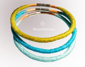 Wool bracelet set of 3