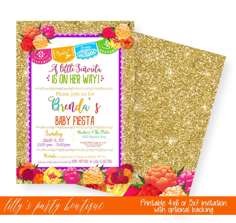 mexican fiesta baby shower invitation fiesta floral gold