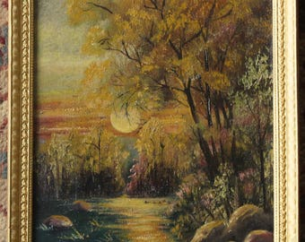 Antique Signed Oil Painting Sunset