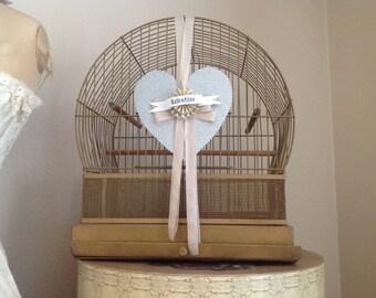 Wonderful antique shabby cottage farmhouse gold metal round top birdcage