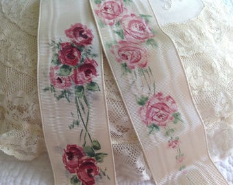 Two rare hand painted antique pieces of ribbon
