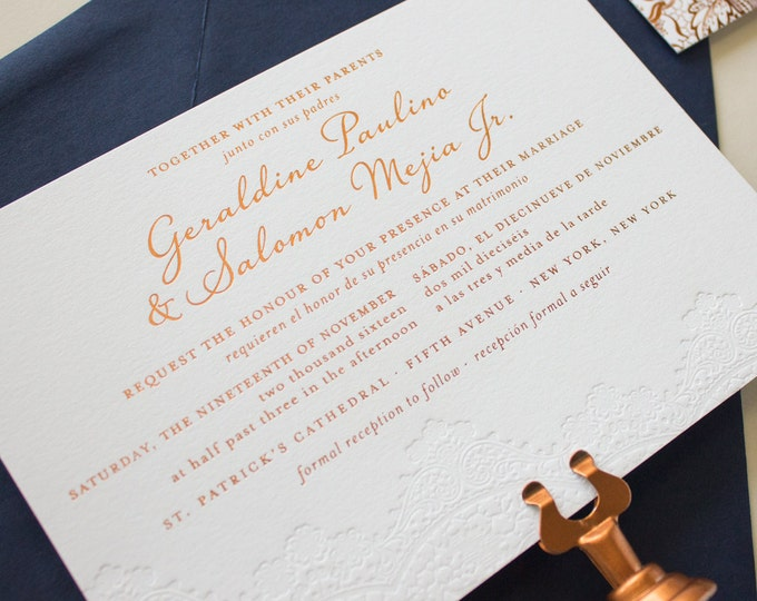 Copper Foil Stamped Wedding Invitations with Blind Impress Lace, Copper and Navy Invitations, Gold Foil Letterpress  SAMPLES | Harmonious