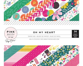Pink Paislee - Paige Evans - Oh My Heart Collection - 6x6 Paper Pad - 36 Sheets - 310517