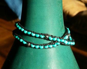 2 Layer Turquoise Wrap-around Bracelet