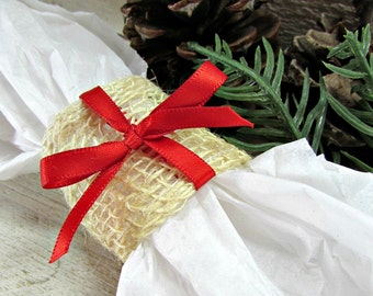 Christmas Burlap Napkin Rings, Red Bow Napkin Rigns, Rustic Christmas Decor, Rustic Home Table Decorations, Natural Country Farmhouse Decor
