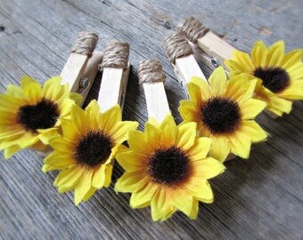 Sunflower Favors, Sunflower Place Card Holders, Clothespin Magnets, Photo Holder, Picture Hanger, Rustic Wedding Party Decor