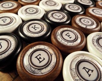 A-Z Typewriter Key Decorative Wood Cabinet Knobs, Pulls...Price is for 1 Knob (Quantity Discounts Available!)