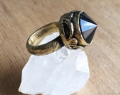 Smokey Quartz faceted crystal antique gold witch ring - made in solid yellow bronze