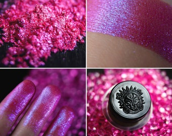 Eyeshadow: Sister of Rainbow Dragon - Dragonblood. The brightest pink shimmering eyeshadow by SIGIL inspired.