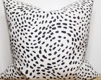 black and white dotted print pillow - COVER ONLY
