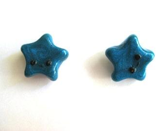 Polymer Clay Earrings| Stud Earrings| Handmade Earrings| Teal Star