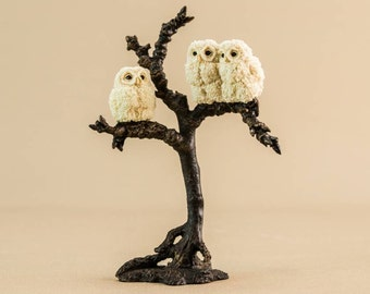 Owls Perched on a Tree Bowbrook Resin Figure SCULPTURE Old Decor English LS