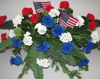 """Red White Blue Patriotic Americana w/ Flags Cafe Home Window Box Arrangements for your 24"""" Box Custom Colors Welcome Pure Country Charm"""