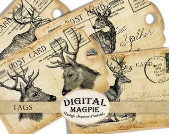 Deer gift tags collage sheet vintage antique paper printable scrapbook ephemera grunge aged digital download