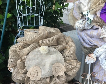 Mini Burlap Bunny Cottontail Wreath