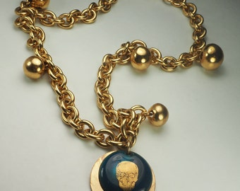 Funky Raquel Moreno designer enamel skull skeleton and bells necklace Spain