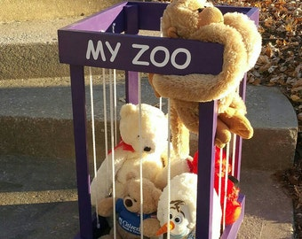 My Zoo Stuffed animal/toy storage Organization Wooden Holder kids toy holder Stuffed Animal Zoo Keeper purple zoo toy box