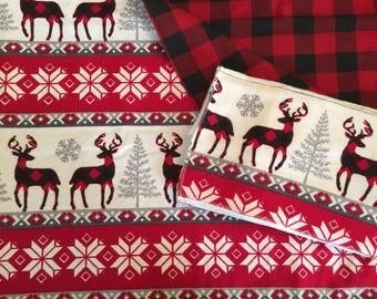 Large Baby Blanket, Swaddle, Burp Cloths, Baby Gift Set, Plaid, Deer, Red, Black, White, Receiving Blanket, Reversible, OOAK, Holiday