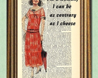 DOWNTON ABBEY WOMAN -Dictionary art print- Upcycled antique book page print