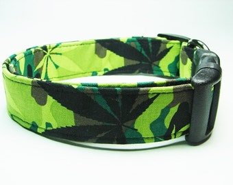 Camouflage Cannabis Dog collar
