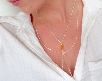 Double strand necklace, Baltic amber necklace,Y necklace , Cameron Diaz necklace