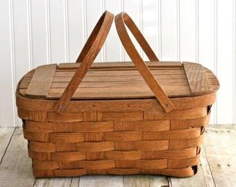Vintage Wooden Picnic Basket, Antique Wooden Picnic Basket, Farmhouse Wooden Picnic basket, Vintage Picnic Basket