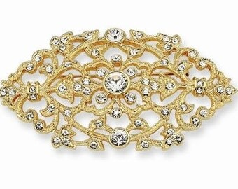Jackie Kennedy Brooch - 24K GP Filigree with Crystals, Box and Certificate