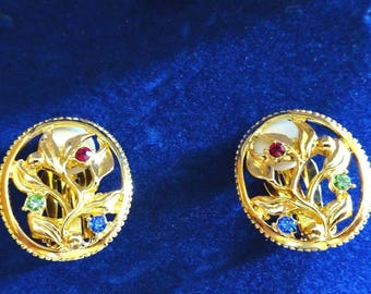Jackie Kennedy 24K GP Earrings - Vine and Flowers with Stones, Box and COA