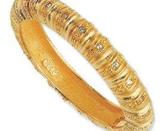 Jackie Kennedy GP Bracelet - 24K Hinged Bangle with Crystals, Box and Certificate