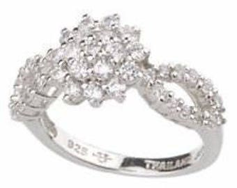 Jackie Kennedy PP Ring - Monte Carlo Ring with Crystals, Box and Certificate - Size 9