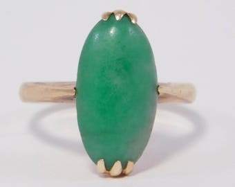 Antique 14K Natural Jade Ring