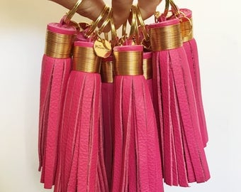 Large Hot Pink Leather Tassel Keychain