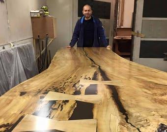 Live Edge Single Slab Harvest Table Live Edge Dining Table Live Edge Boardroom Tables Wood Slab Tables